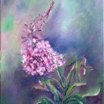 цветы иван-чая на картине маслом